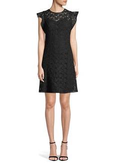 MICHAEL Michael Kors Flounce-Sleeve Lace Shift Dress