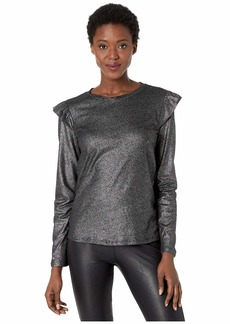 MICHAEL Michael Kors Foil Linen Long Sleeve Ruffle Top