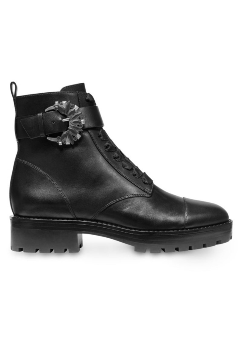 MICHAEL Michael Kors Frieda Buckle Leather Combat Boots
