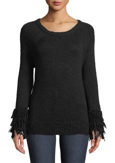 MICHAEL Michael Kors Fringe-Cuff Raglan Sweater