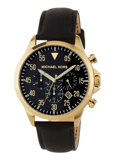MICHAEL Michael Kors Gage 45mm Chronograph Watch w/ Leather  Black/Gold