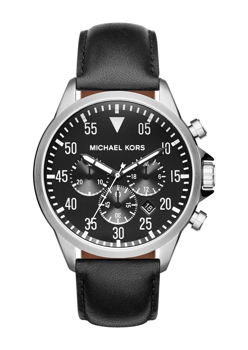 MICHAEL Michael Kors Men's Gage Chronograph Leather Strap Watch, 45mm