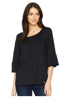 MICHAEL Michael Kors Gathered Sleeve Peasant Top