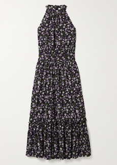 MICHAEL Michael Kors Gathered Tiered Floral-print Georgette Midi Dress