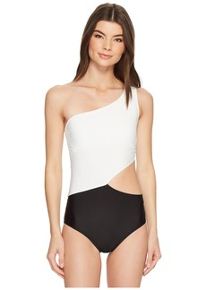 Geometric Glamour Solids One Shoulder Cut Out One-Piece Swimsuit w/ Zipper & Removable Soft Cups