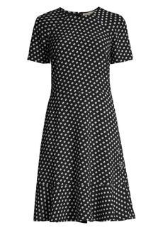 MICHAEL Michael Kors Geometric Print Short-Sleeve Raglan A-Line Dress