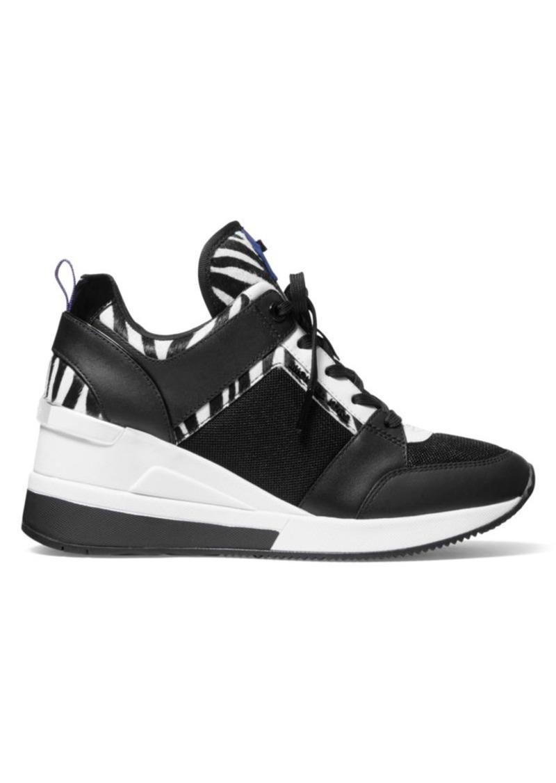 MICHAEL Michael Kors Georgie Zebra-Stripe Calf Hair & Leather Wedge Sneakers