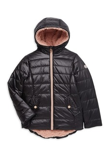 MICHAEL Michael Kors Girl's Faux Shearling-Lined Hooded Quilted Jacket
