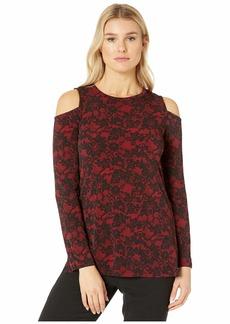 MICHAEL Michael Kors Glam Lace Long Sleeve Cold-Shoulder