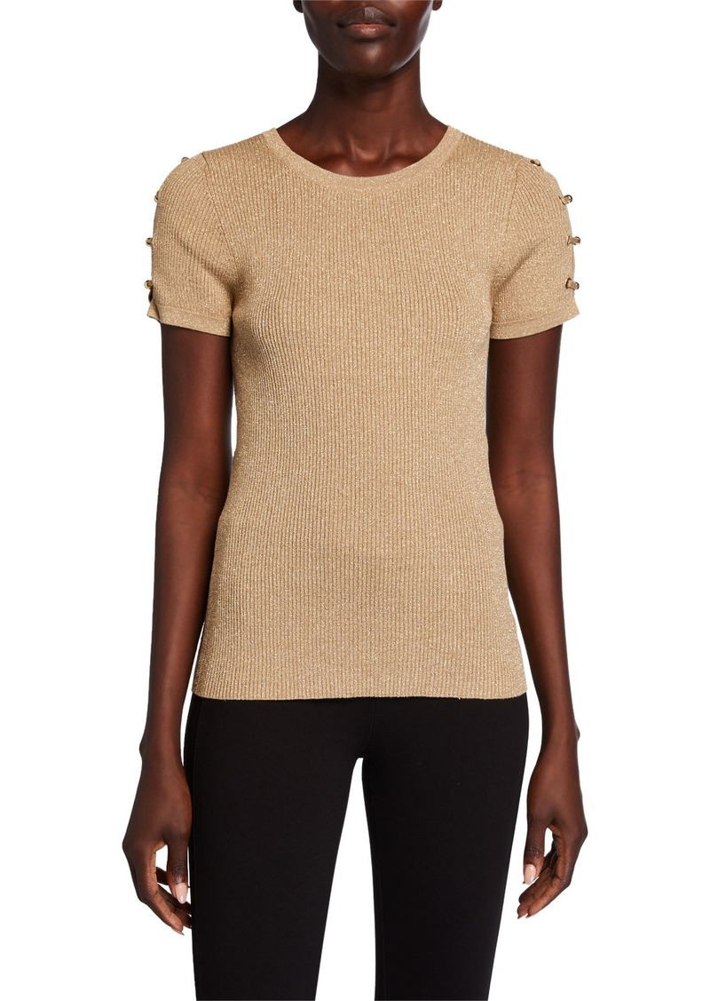 MICHAEL Michael Kors Grommet Lace-Up Sleeve Top