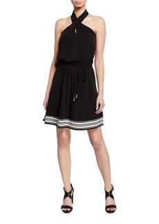 MICHAEL Michael Kors Halter-Neck Striped Border Dress