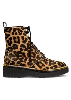 MICHAEL Michael Kors Haskell Leopard-Print Faux Calf Hair Combat Boots