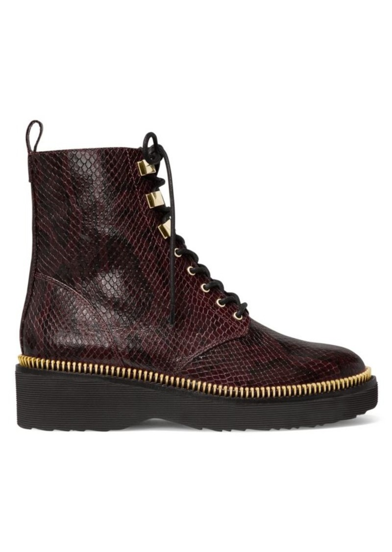 MICHAEL Michael Kors Haskell Snakeskin-Embossed Leather Combat Boots
