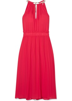 MICHAEL Michael Kors Hayden Chain-embellished Pleated Georgette Dress