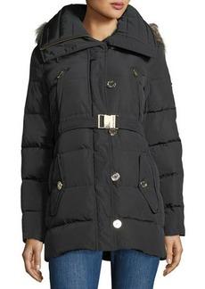 MICHAEL Michael Kors Heavy Down Car-Seat Belted Jacket w/ Fur Hood
