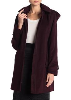 MICHAEL Michael Kors Hooded Leather Trim Wool Blend Zip Coat