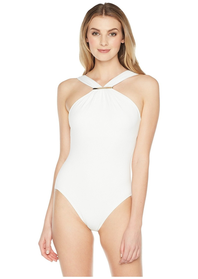 80406596c6b09 MICHAEL Michael Kors Iconic Solids Logo Bar High Neck One-Piece Swimsuit w/  Removable Soft Cups