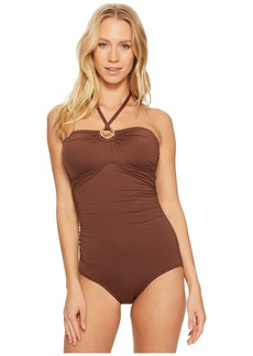 Iconic Solids Logo Ring Shirred One-Piece Swimsuit w/ Removable Soft Cups & Strap