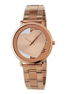 MICHAEL Michael Kors Jaryn 38mm See-Through Heart Watch  Rose Golden