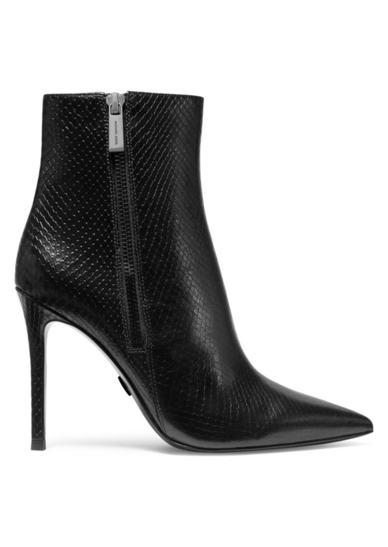MICHAEL Michael Kors Keke Snakeskin-Embossed Leather Ankle Boots