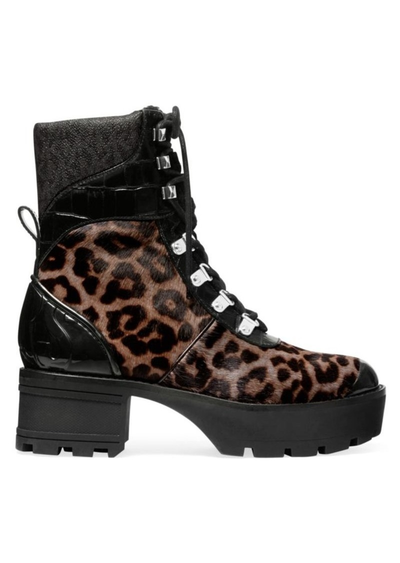 MICHAEL Michael Kors Khloe Shearling-Trimmed Leopard-Print Calf Hair & Patent Leather Combat Boots