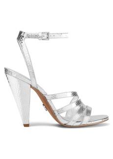 MICHAEL Michael Kors Kimmy Crocodile-Embossed Metallic Leather Slingback Sandals