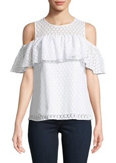 MICHAEL Michael Kors Lace Cold-Shoulder Ruffle Blouse