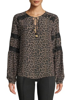 MICHAEL Michael Kors Lace Detail Tassel-Tie Leopard Blouse