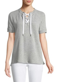 MICHAEL Michael Kors Lace-Front Short-Sleeve Sweater