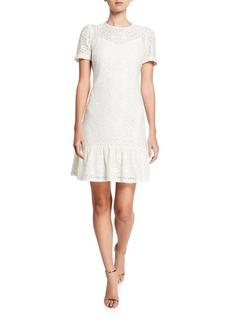 MICHAEL Michael Kors Lace Short-Sleeve Ruffle-Hem Tee Dress