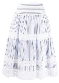 MICHAEL Michael Kors lace-trim striped skirt