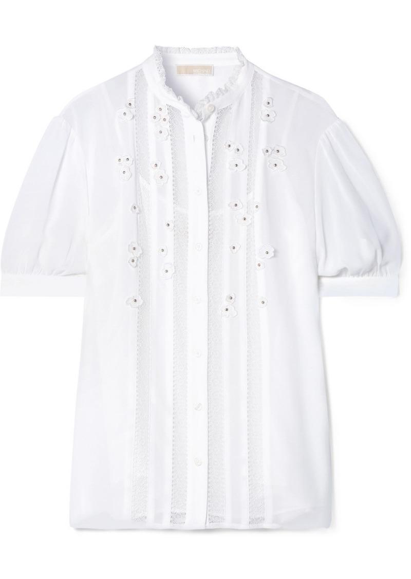 MICHAEL Michael Kors Lace-trimmed Appliquéd Georgette Top