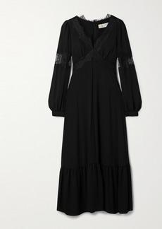 MICHAEL Michael Kors Lace-trimmed Georgette Midi Dress