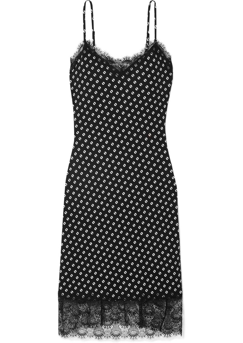 MICHAEL Michael Kors Lace-trimmed Printed Stretch-jersey Dress