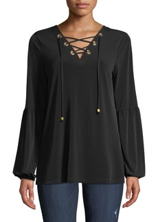 MICHAEL Michael Kors Lace-Up Balloon-Sleeve Tunic