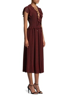MICHAEL Michael Kors Lace-Up Flounce Midi Dress