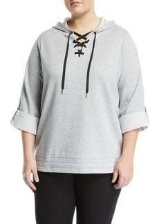 MICHAEL Michael Kors Lace-Up Front Roll-Sleeve Hoodie
