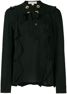 MICHAEL Michael Kors lace-up front ruffle blouse