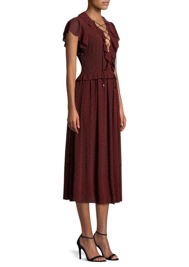 55e5576b MICHAEL Michael Kors Lace-Up Flounce Midi Dress | Dresses