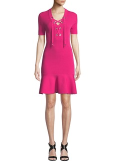 MICHAEL Michael Kors Lace-Up Rib-Knit Short-Sleeve Dress with Flared Hem