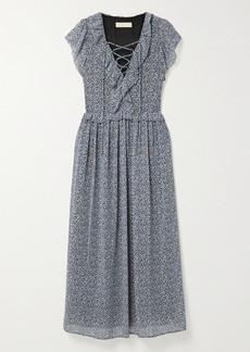 MICHAEL Michael Kors Lace-up Ruffled Floral-print Crepe Maxi Dress