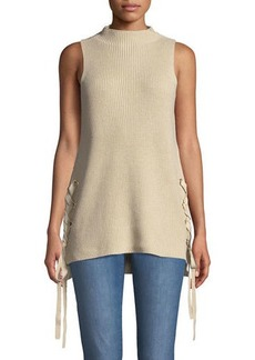 MICHAEL Michael Kors Lace-Up Sleeveless Tunic Sweater