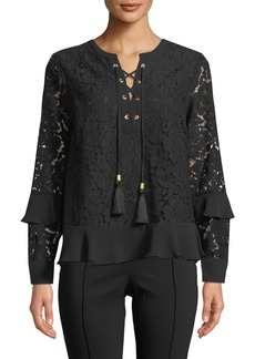 MICHAEL Michael Kors Lace-Up Tassel Long-Sleeve Lace Blouse