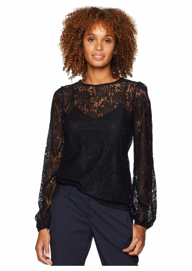 Lace Waist Long Sleeve Top