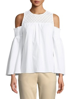 MICHAEL Michael Kors Lace-Yoke Cold-Shoulder Blouse