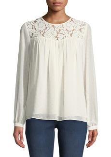 MICHAEL Michael Kors Lace-Yoked Peasant Blouse with Sequins