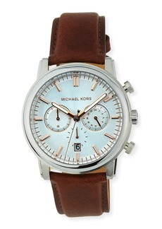 MICHAEL Michael Kors Landaulet Chronograph Watch w/ Leather Strap  Silver