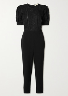 MICHAEL Michael Kors Latice-trimmed Cotton-blend Corded Lace And Crepe Jumpsuit