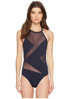 MICHAEL Michael Kors Layered Illusion High Neck One-Piece Swimsuit w/ Mesh Insert