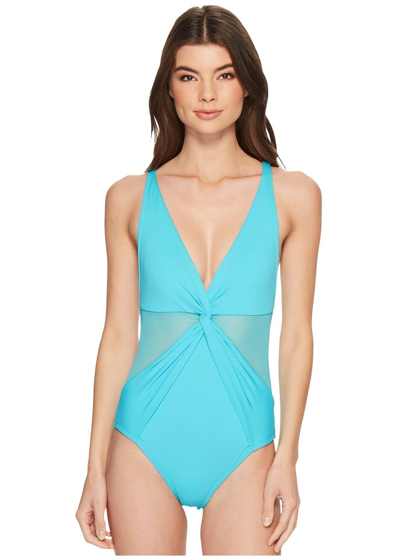 00c6fb65bcdf2 Layered Illusion V-Neck One-Piece Swimsuit w/ Mesh Insert & Removable Soft  Cups. MICHAEL Michael Kors